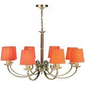 MURRAY traditional 8 light antique brass chandelier with orange shades