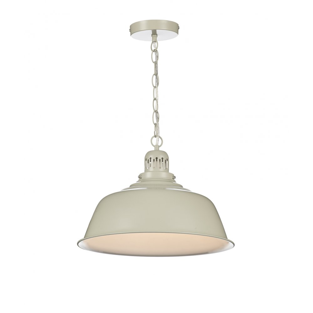 Cream painted metal ceiling pendant light in urban for Metal hanging lights