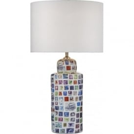 NEAPOLITAN ceramic table lamp with postage stamp design