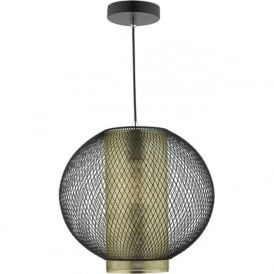 NIELLO modern double insulated ceiling pendant with brass and black mesh shades