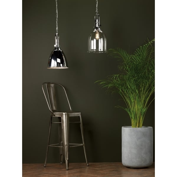 Industrial Design Ceiling Pendant In Chrome With Chrome
