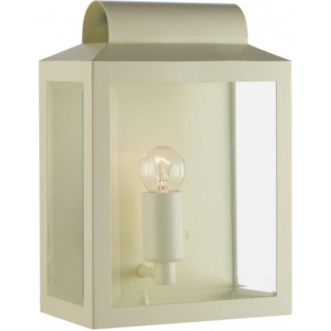 Cream And Glass Flush Fitting Ip44 Wall Lantern For Indoor