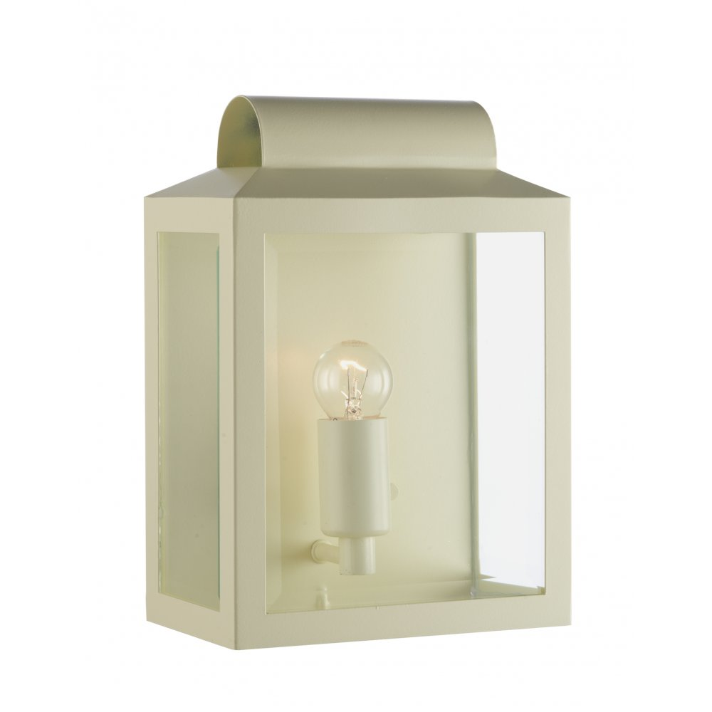 Cream and Glass Flush Fitting IP44 Wall Lantern for Indoor or Outdoors