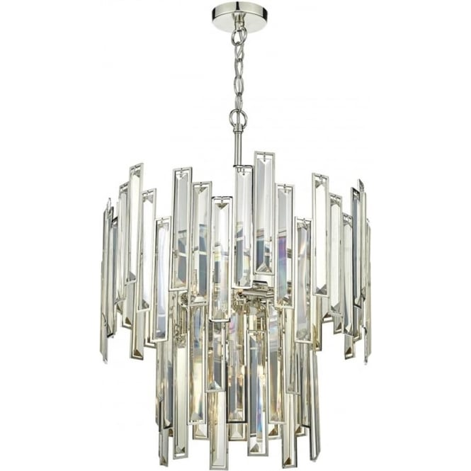 Chandelier in modern art deco styling nickel frame and crystal bars odile art deco style 2 tier chandelier with champagne gold crystal bars on a nickel frame aloadofball Images