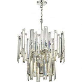 ODILE Art Deco style 2 tier chandelier with champagne gold crystal bars on a nickel frame