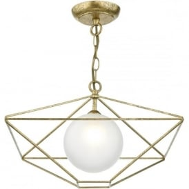 ORSINI opal glass globe ceiling pendant surrounded by geometric old gold frame