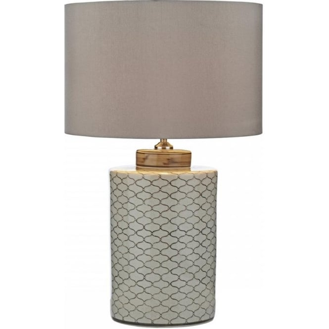 Classic chinese style ceramic base table lamp with taupe shade paxton chinese ceramic barrel base table lamp with taupe shade aloadofball Choice Image
