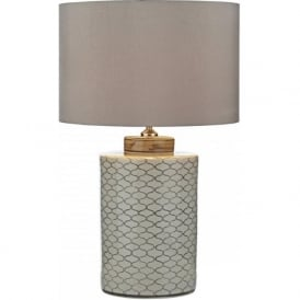 PAXTON Chinese ceramic barrel base table lamp with taupe shade