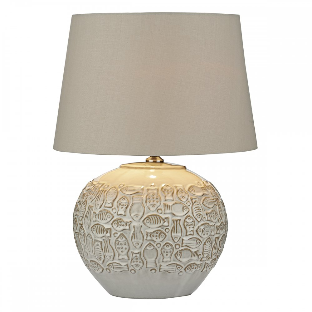 Cambridge Lighting PELIOS Rustic Ceramic Cream Table Lamp