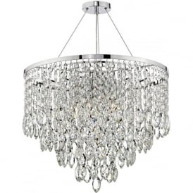 PESCARA waterfall chandelier on chrome frame with cascading crystal decorations