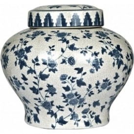 PRAIRIE small white and blue ceramic ornamental jar