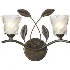 PRUNELLA dark bronze wall light in rustic cottage style