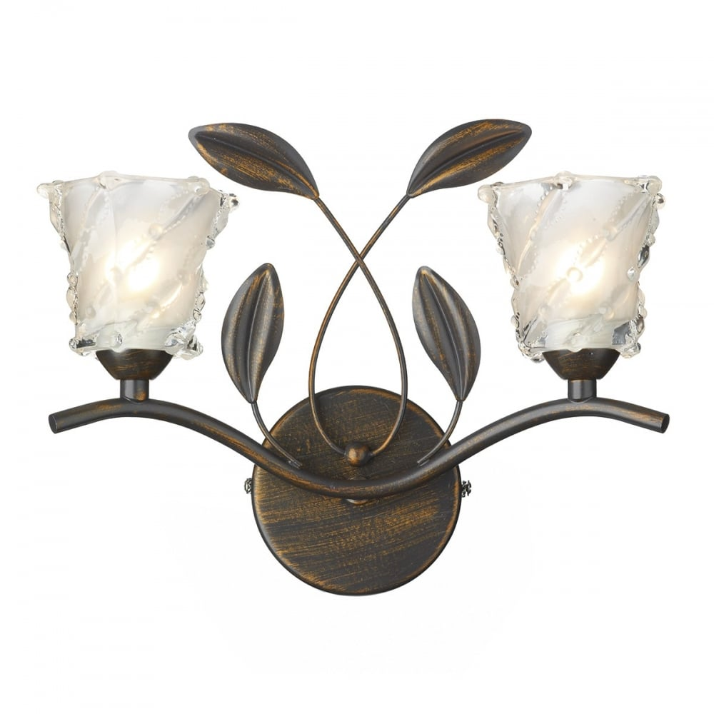 Bronze Rustic Wall Light in Country Cottage Style with Glass Shades