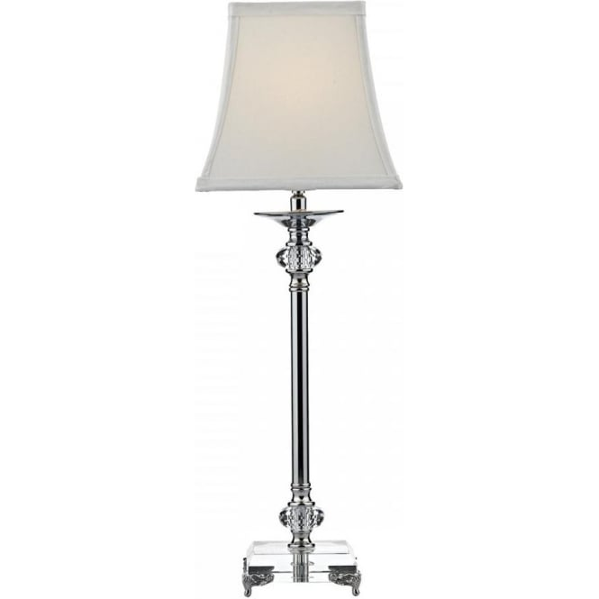 Polished nickel and crystal candlestick table lamp with ivory shade raj elegant polished nickel table lamp with crystal aloadofball Choice Image