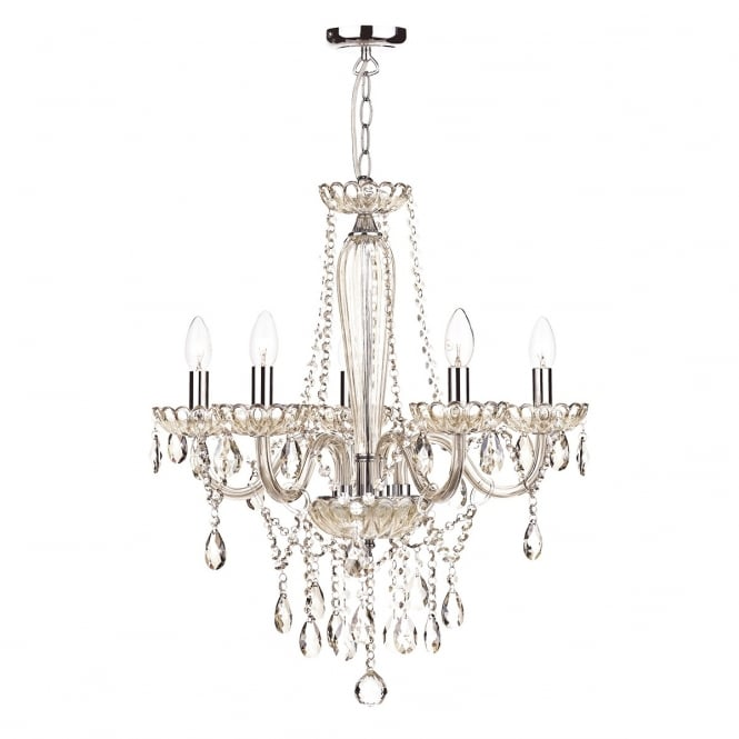 Crystal Chandelier Non Electric: Double Insulated Chandelier Dressed With Champagne Gold