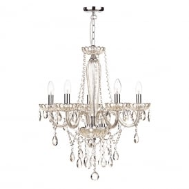 RAPHAEL 5 light chandelier dressed with champagne gold beads and droplets
