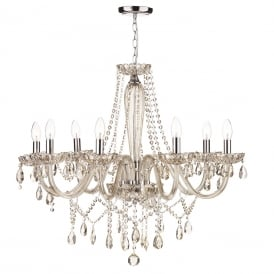 RAPHAEL 8 light chandelier dressed with champagne gold beads and droplets