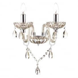 RAPHAEL chandelier style double wall light dressed with champagne gold beads and droplets