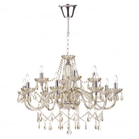 RAPHAEL large 12 light chandelier dressed with champagne gold beads and droplets