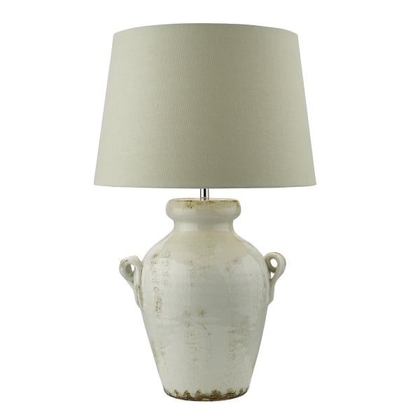 Antique Cream Ceramic Base Table Lamp With Natural Linen