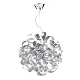 RAWLEY 9 light circular ceiling pendant wrapped in twirling aluminium ribbons