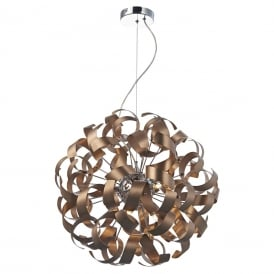 RAWLEY 9 light circular ceiling pendant wrapped in twirling copper ribbons