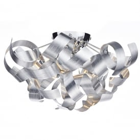 RAWLEY flush fitting low ceiling light with twirling brushed aluminium ribbons