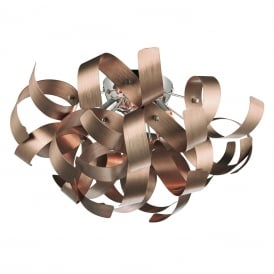 RAWLEY flush fitting low ceiling light with twirling copper ribbons