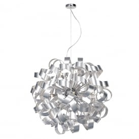 RAWLEY large circular ceiling pendant wrapped with twirling aluminium ribbons