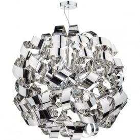 RAWLEY large circular ceiling pendant wrapped with twirling chrome ribbons