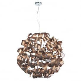 RAWLEY large circular ceiling pendant wrapped with twirling copper ribbons