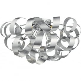 RAWLEY large flush fitting low ceiling light with twirling aluminium ribbons