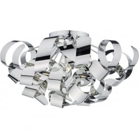 RAWLEY large flush fitting low ceiling light with twirling chrome ribbons