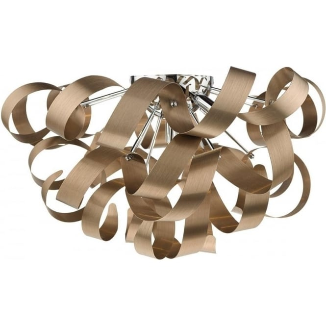 Contemporary flush fitting ceiling light with twirling copper ribbons rawley large flush fitting low ceiling light with twirling copper ribbons mozeypictures Image collections
