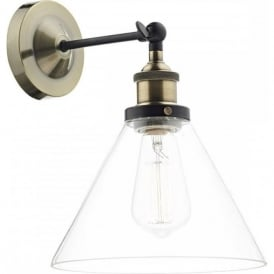 RAY vintage antique brass wall light with coolie glass shade