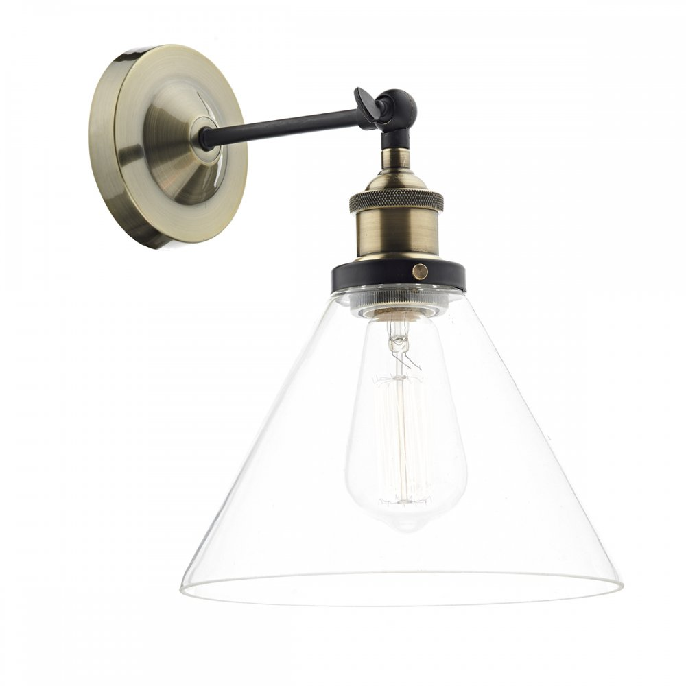 Brass Wall Lights With Shades : Antique Brass Wall Light with Clear Glass Shade in Vintage Styling