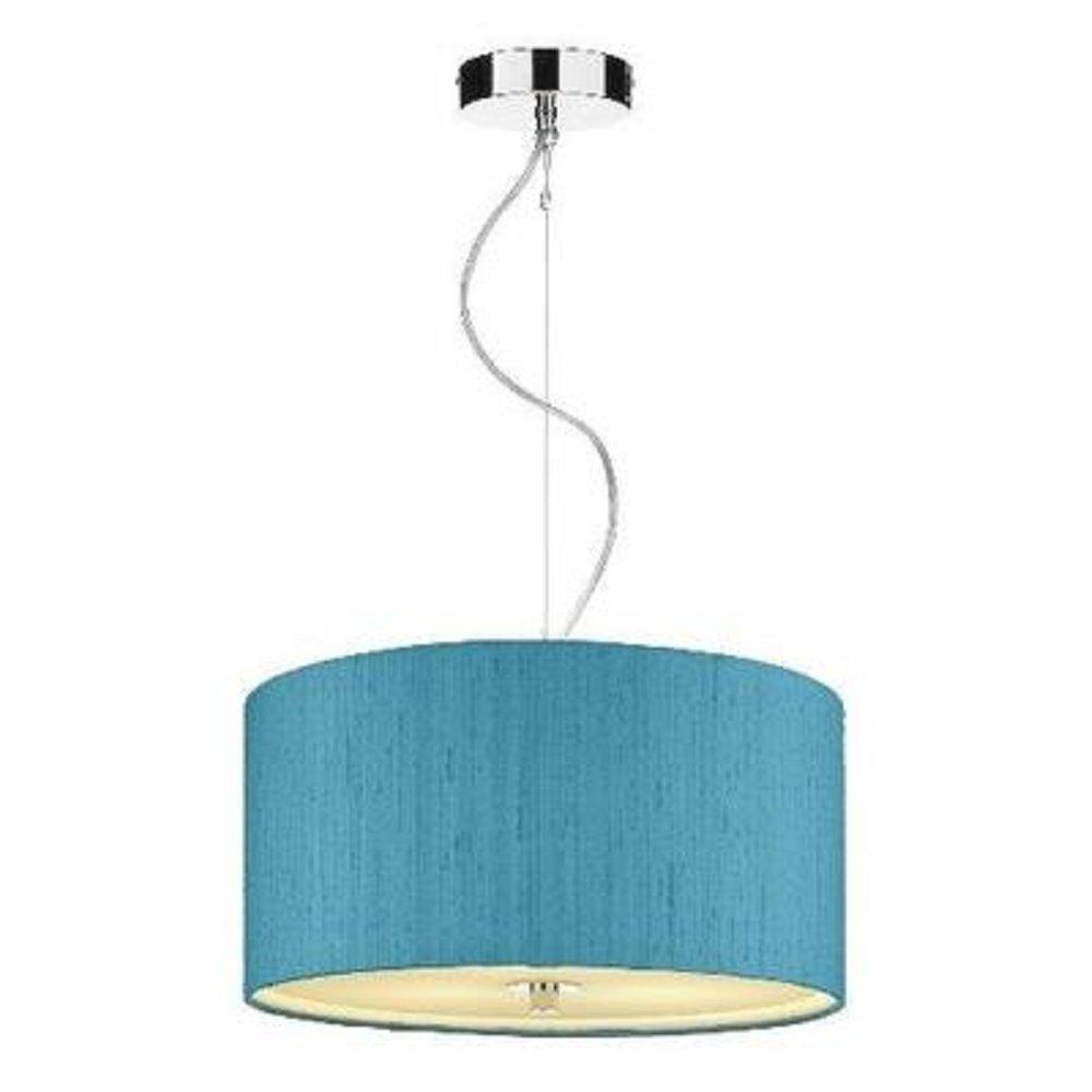 Renoir Ceiling Pendant, Drum Shaped Hanging Light, Aqua