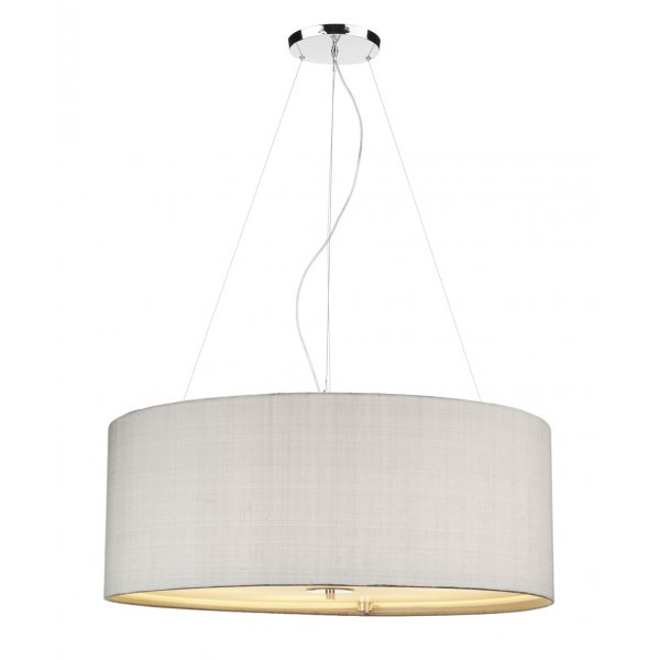 Silver Grey Drum Shade Ceiling Pendant Light With Opal