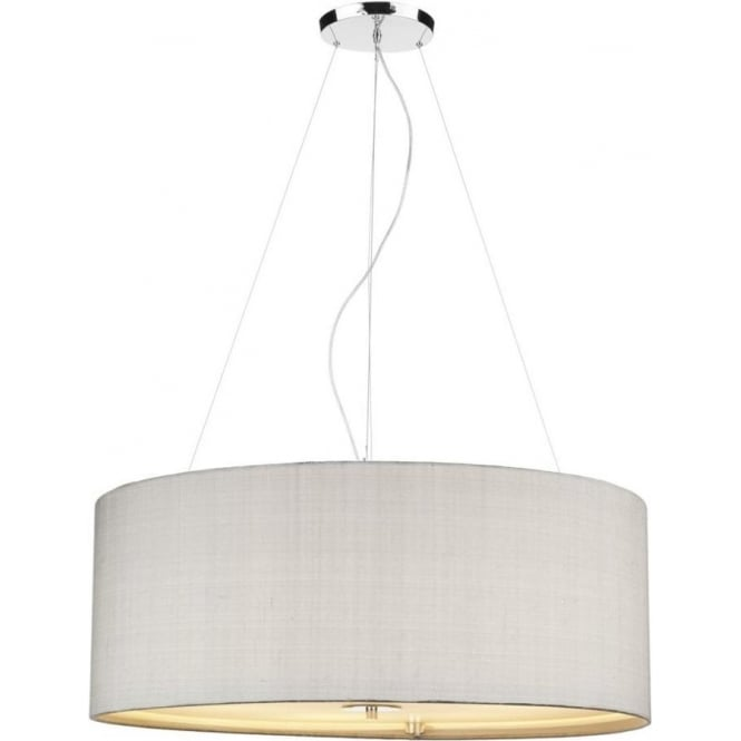 Large Drum Pendant Lighting RENOIR Extra Large Silver Grey Silk Ceiling Pendant Light Drum Lighting E