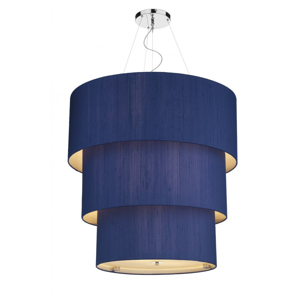 lighting renoir large 3 tier marine blue silk ceiling pendant light