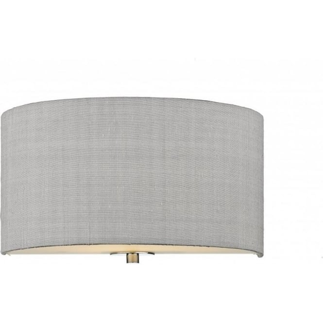 Fabric Shade Wall Light, Wall Uplighter with Silver Grey Silk Shade