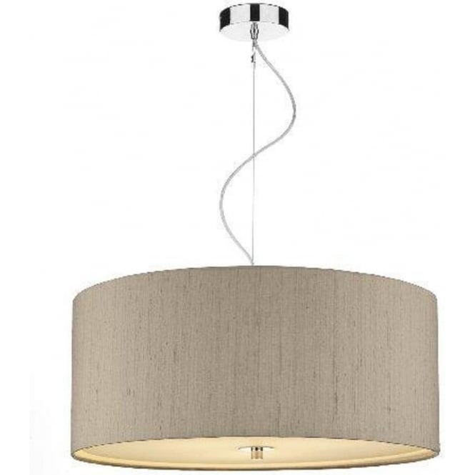 Circular taupe silk light shade pendant with very long drop renoir taupe silk ceiling pendant light shade mozeypictures Image collections