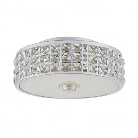 REPTON flush mounted circular ceiling light in chrome with crystal decorations