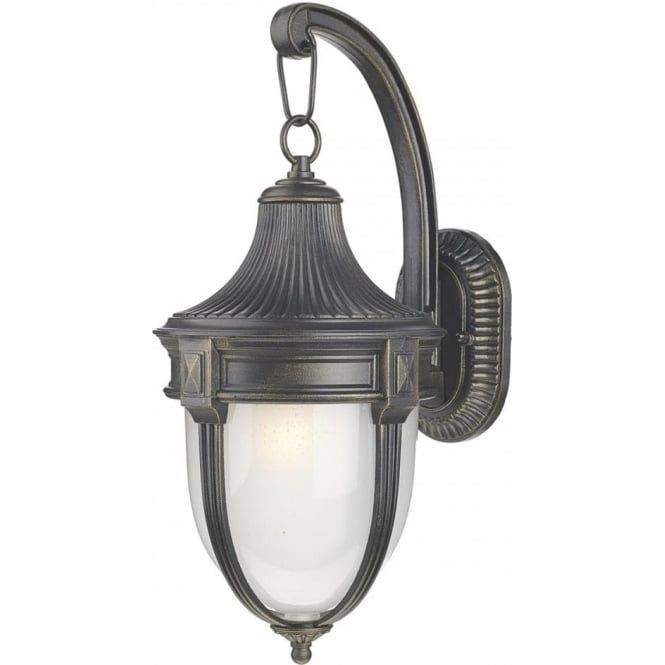 RICHMOND Traditional Black Outdoor Wall Light With Gold Patina   Large