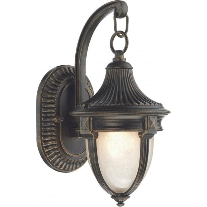 Small Traditional Outdoor Garden Wall Light In Black Gold