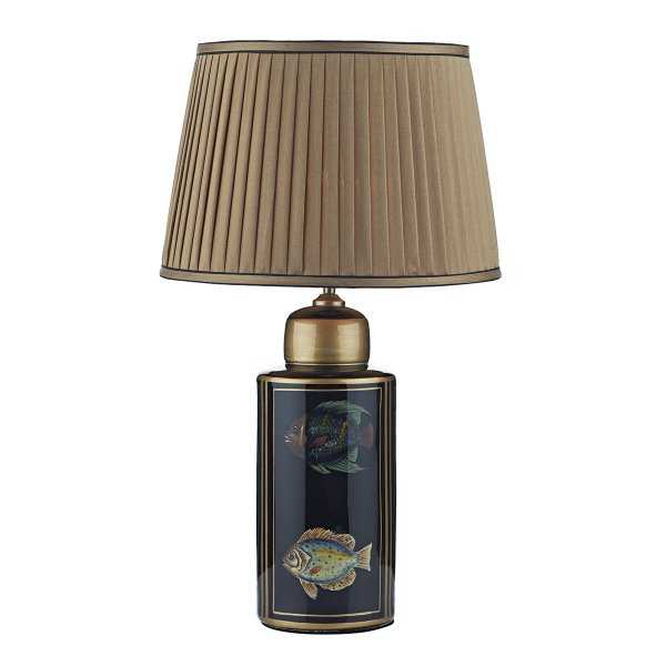 Black Barrel Base Table Lamp With Oriental Tropical Fish