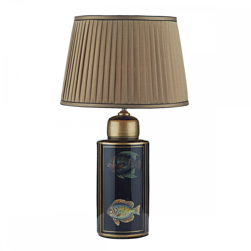 black barrel base table lamp with oriental tropical fish and gold shade. Black Bedroom Furniture Sets. Home Design Ideas