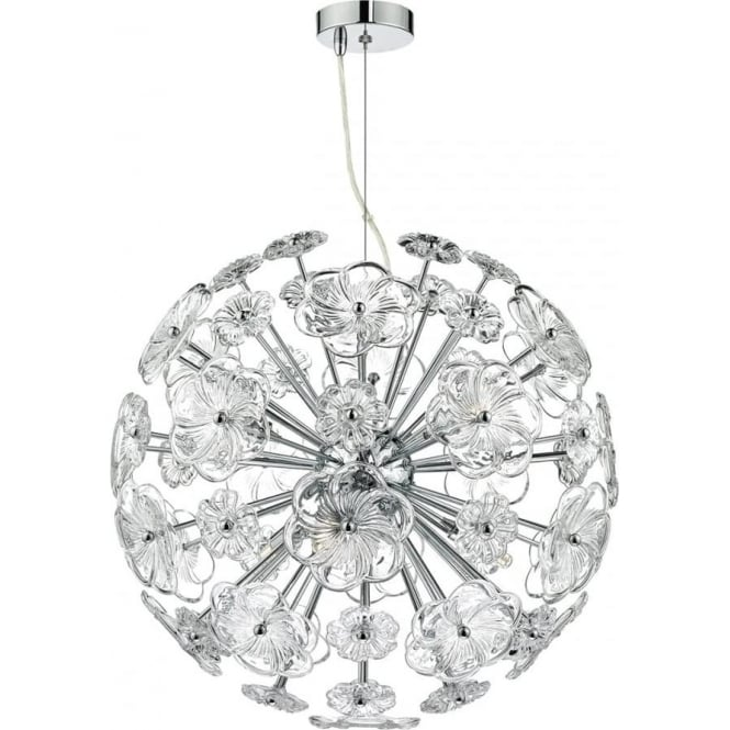 Circular Ball Shaped Modern Pendant Light With Radiating Floral Arms