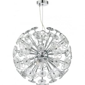 ROCHELLE modern 9 light open frame ball shaped pendant with decorative glass flowers