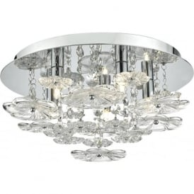 ROCHELLE modern flush fitting circular ceiling light with decorative glass flowers
